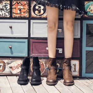 女靴子秋新款2018帅气小短靴粗跟马丁靴圆头高跟西部靴真皮裸靴冬X2-1