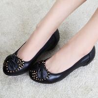 新款春季女鞋坡跟女低帮鞋潮女士皮鞋单鞋