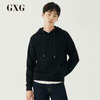 GXG男装 秋季男士时尚潮流套头修身黑色刺绣长袖连帽卫衣男