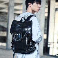 背包双肩包男时尚潮流韩版休闲男士旅行包高中大学生书包电脑包潮 黑色