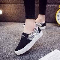 帆布鞋女春季新款小白鞋女松糕鞋厚底一脚蹬韩版学生懒人布鞋