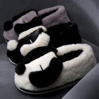 防滑狗高帮棉拖鞋女冬季厚底可爱毛绒绒网红鞋居家用月子鞋冬天