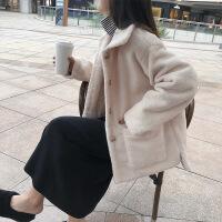 2019新款毛呢外套女短款韩版chic宽松秋冬新款仿羊羔毛单排扣棉上衣潮 米色