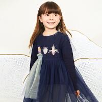 【秒杀价:135元】马拉丁童装女大童连衣裙春装2020年新款拼接网纱裙短袖连衣裙