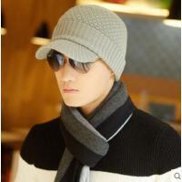 韩版潮冬天加厚户外鸭舌帽   毛线帽   帽子男款 羊毛针织帽