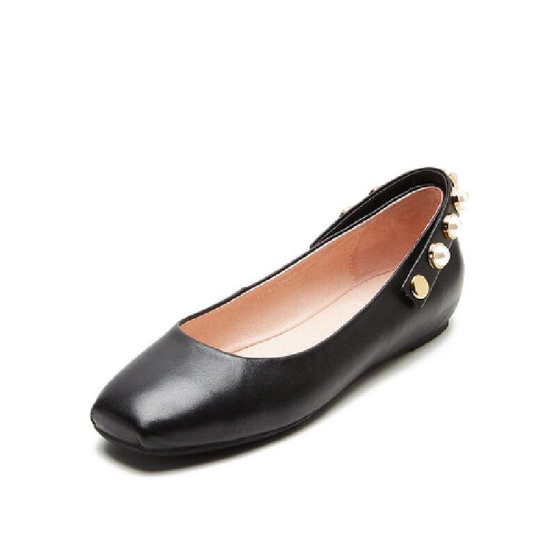 爱旅儿哈森旗下韩版休闲平跟平底深口单鞋女EL78209