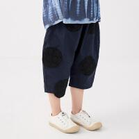 【秒杀价:119元】马拉丁童装女童裤子2020夏装新款波点图案提花萝卜裤棉布中裤