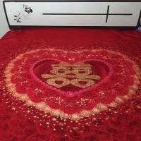 婚庆磨毛1.5米1.8m床上用品卡通棉结婚大红色喜字床单单件k 红色 230cmx250cm