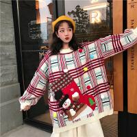 2019冬季中长款原宿风圣诞卡通贴布加厚套头毛衣针织衫上衣外套女 均码