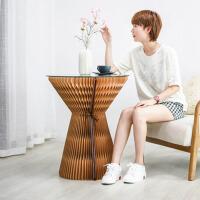 70cm高棕色茶几 创意时尚亚克力板茶几 边几折叠小户型 客厅北欧简约省空间家具