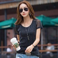 夏季韩版修身短袖T恤 新款半透明网纱丝光休闲女式T恤