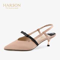 【 限时3折】哈森2019春季新款通勤尖头单鞋女 蝴蝶结中后空猫跟高跟鞋HM93411