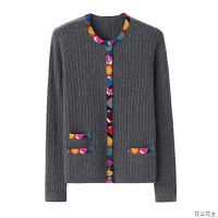 纯羊绒衫女士圆领修身显瘦知性年轻妈妈装拼接撞色针织开衫新品
