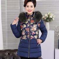中年女冬装羽绒轻薄时尚妈妈冬季棉衣外套中长款花棉袄40岁50