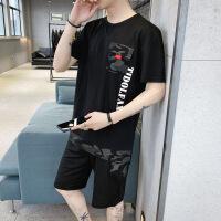 男士短袖t恤夏季迷彩五分短裤套装韩版潮流中袖体装两件套男