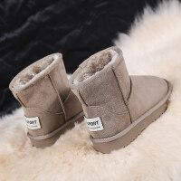 雪地靴女2019新品冬季韩版百搭加绒中筒学生绒面保暖滑女款棉鞋