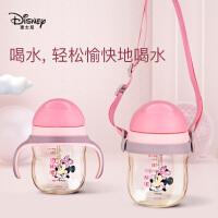 迪士尼PPSU婴儿童吸管式学饮杯鸭嘴杯喝水杯子带手柄奶瓶大宝宝4646