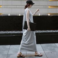 莫代尔背心长裙休闲2019夏季新款韩版无袖长款背心裙开叉连衣裙子 灰色 高端品质