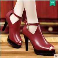 单鞋女高跟 新款职业黑色性感鱼嘴高跟鞋防水台细跟女单鞋3210