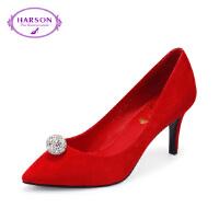 【秋冬新款 限时1折起】哈森女鞋浅口细高跟鞋秋季通勤单鞋HL67143