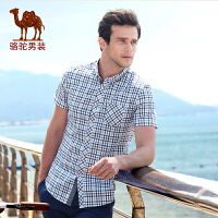 骆驼男装 夏季新款无弹柔软扣领尖领修身格子休闲短袖衬衫男