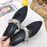尖头平底单鞋女春季新款韩版浅口一字带水钻软底瓢鞋船鞋