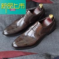 新品上市手工真皮男士尖头商务正装皮鞋透气固异款式雕花休闲男鞋
