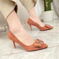 高跟鞋女7cm浅口绒面水钻韩版公主尖头细跟工作职业小码少女单鞋