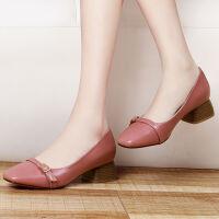 金丝兔女鞋春季新款时尚方跟单鞋女韩版套脚中跟鞋复古圆头浅口鞋女