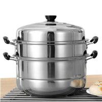 不锈钢蒸锅三层加厚家用电磁炉汤锅具蒸格蒸笼馒头3层二2双层多层