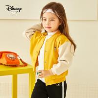 【2件3折价:110.7】迪士尼童装女童加绒棒球服套装秋冬新款儿童时尚运动服两件套潮