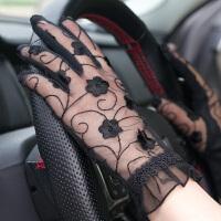 夏季防晒手套女防紫外线开车防滑薄款蕾丝短款遮阳透气弹力