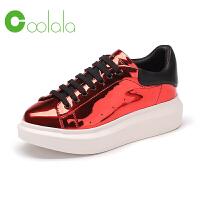 红蜻蜓旗下品牌COOLALA女鞋 新品运动休闲韩版板鞋厚底系带学院风女单鞋