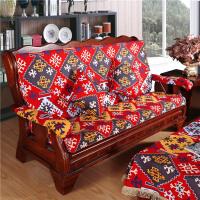 红实木实木沙发坐垫垫套带靠背加厚海绵老式中式棉麻防滑冬组合套装k