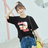 夏季新款街头黑色T恤女装短袖宽松棉百搭个性字母印花半袖