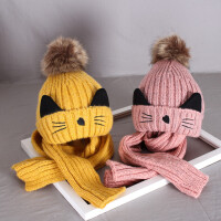 秋冬季儿童针织帽子女宝宝套头毛线帽子围巾套装男童加绒保暖帽子