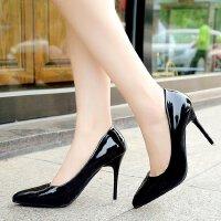 高跟鞋女细跟尖头夜场浅口光面7-9cm黑色工作职业单鞋皮鞋职场ol