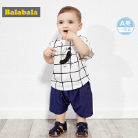 巴拉巴拉婴儿t恤宝宝打底衫上衣男童短袖新款纯棉廓形格纹潮