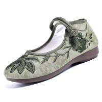 老北京布鞋女新款单鞋平底坡跟舞蹈鞋绑带民族风绣花鞋浅口鞋