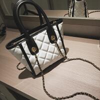 新款菱格链条女士包包韩版绣线百搭斜挎包时尚托特包大包包女