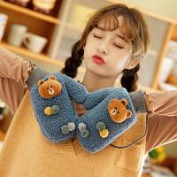 手套女冬天保暖挂脖加厚加绒仿颗粒羊绒韩版软妹学生可爱卡通小熊