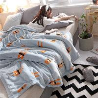 珊瑚绒毯子冬季厚法兰绒毛毯夏季学生单人薄款午睡双人空调被子y