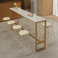 北欧家用铁艺大理石吧台桌靠墙酒吧台咖啡厅奶茶店高脚桌椅组合