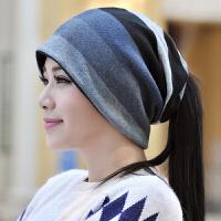 帽子女秋冬包头帽时尚男套头帽韩版头巾帽多用围脖睡帽保暖月子帽