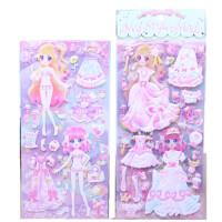 换装贴纸泡泡贴女孩公主卡通3D立体儿童套装粘贴画巴比娃娃换衣服玩具礼物