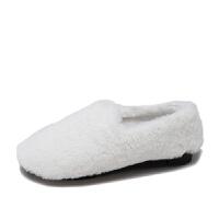 网红豆豆鞋女加绒2018新款冬季白色毛毛鞋女外穿懒人棉鞋