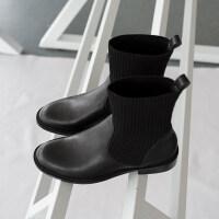 袜子靴弹力靴女2019秋冬新款毛线针织连袜靴切尔西靴低跟粗跟短靴