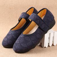 北京老年人的布鞋花的女式老太太鞋女士老人鞋奶奶穿软底裹脚鞋子