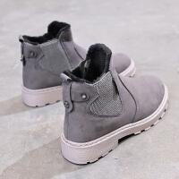 套筒高帮棉鞋冬季加绒女鞋学生韩版雪地靴新款英伦休闲鞋百搭保暖 灰色 ZD03K