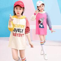 儿童卫衣 女童卡通长袖卫衣2020新款秋装女孩中长款上衣薄款棉质连帽韩版套头衫